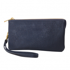 Small Wristlet - Vegan Leather - Navy