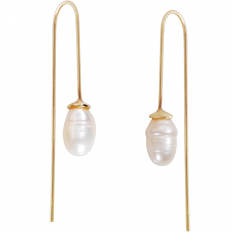 Gold Teardrop Simulated Pearl Dangles - Oval-Shaped Hanging Bead Threader Drop Earrings
