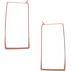 Rectangle Hoop Threaders - 18K Rose Gold Plated