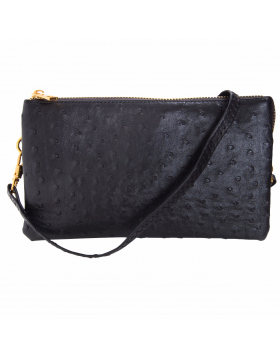 Ostrich Convertible Wristlet - Vegan Leather